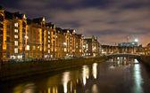 Speicherstadt at night in Hamburg — Stock Photo