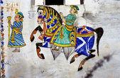 Wallpaintings na starých domech v udaipur — Stock fotografie