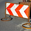 Stock Photo: Traffic sign to indicate construction site at street