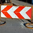 Traffic sign to indicate a construction site at the street — Stock Photo