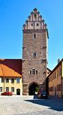 Noerdlinger gate in famous old romantic medieval town of Dinkel — Stock Photo