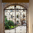 Window with iron window grate in famous hospice in Beaune, Franc — Stock Photo