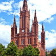 Famous Markt Kirche in Wiesbaden, a brick building in neo-Gothic - Stock Photo