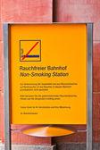 Non smoking sign in public area — Stock Photo