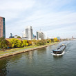 Freight ship on the river Main in Frankfurt — Stock Photo