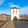Old Lahn bridge with medieval watchtower — Stock Photo
