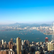 Hong Kong view from Victoria Peak to the bay and the skyscrapers — Stock Photo #6382207