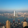 Hong Kong view from Victoria Peak to the bay and the skyscrapers — Stock Photo #6382225