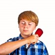 Young boy brushing his hair — Stock Photo #6404874