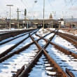 Rails in winter at the station — Stock Photo