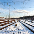 Rails in winter at the station — Stockfoto