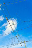 Catenary in winter at the station — Stockfoto