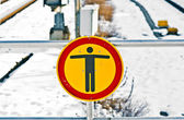 No trespassing sign at rails in winter — Stock Photo
