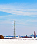 Beautiful landscape with electrical tower — Stock Photo