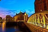 Speicherstadt in Hamburg by night — Stock Photo