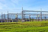 Transformer station under blue sky in landscape — Stock Photo