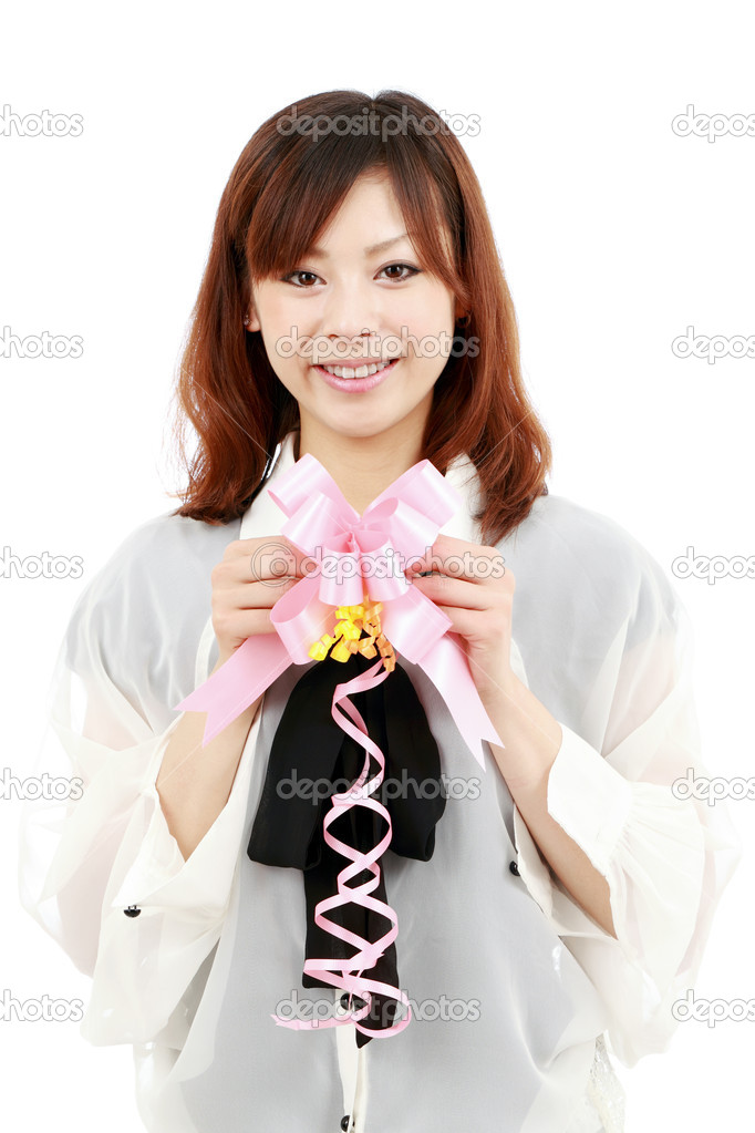 Young japanese woman with a ribbon   Stock Photo #5634975