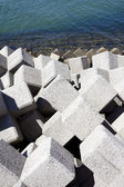 Breakwater with concrete blocks — 图库照片