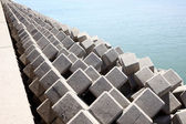 Breakwater with concrete blocks — Stockfoto