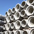 Stacked concrete pipes — Foto Stock