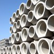 Stacked concrete pipes - Stock Photo