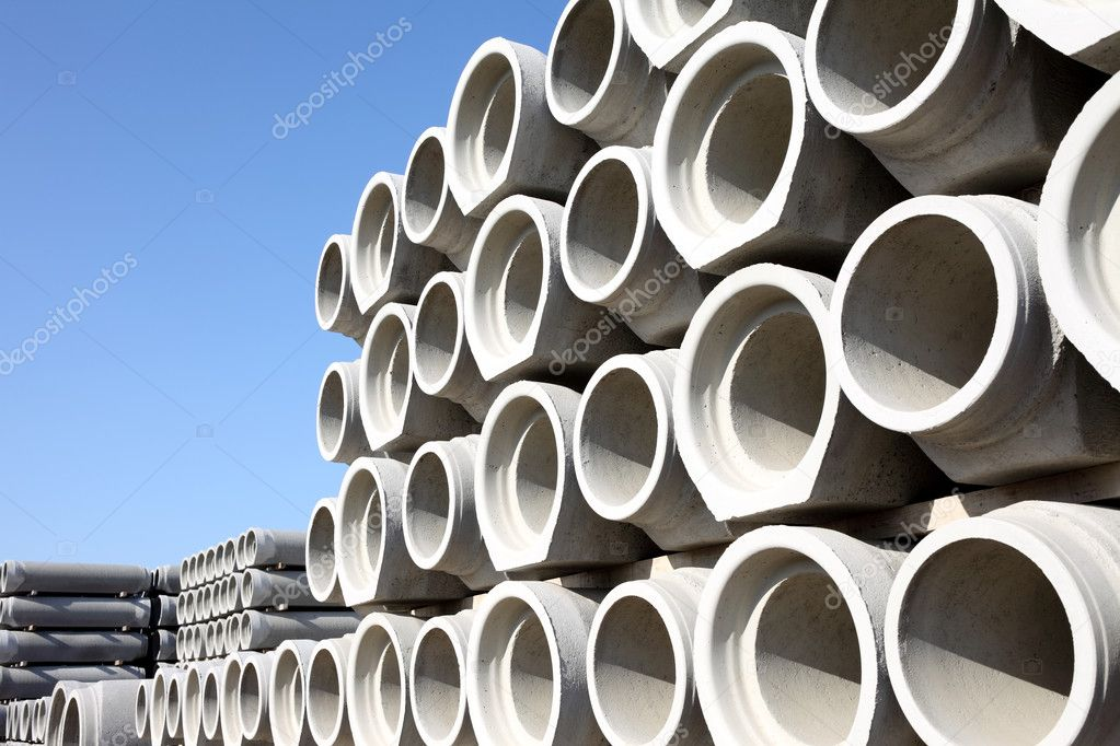 Stacked concrete drainage pipes    #5826014