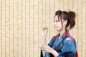 Japanese woman in traditional clothes of Kimono — Foto de Stock