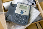 New VoIP phone in package — Stock Photo