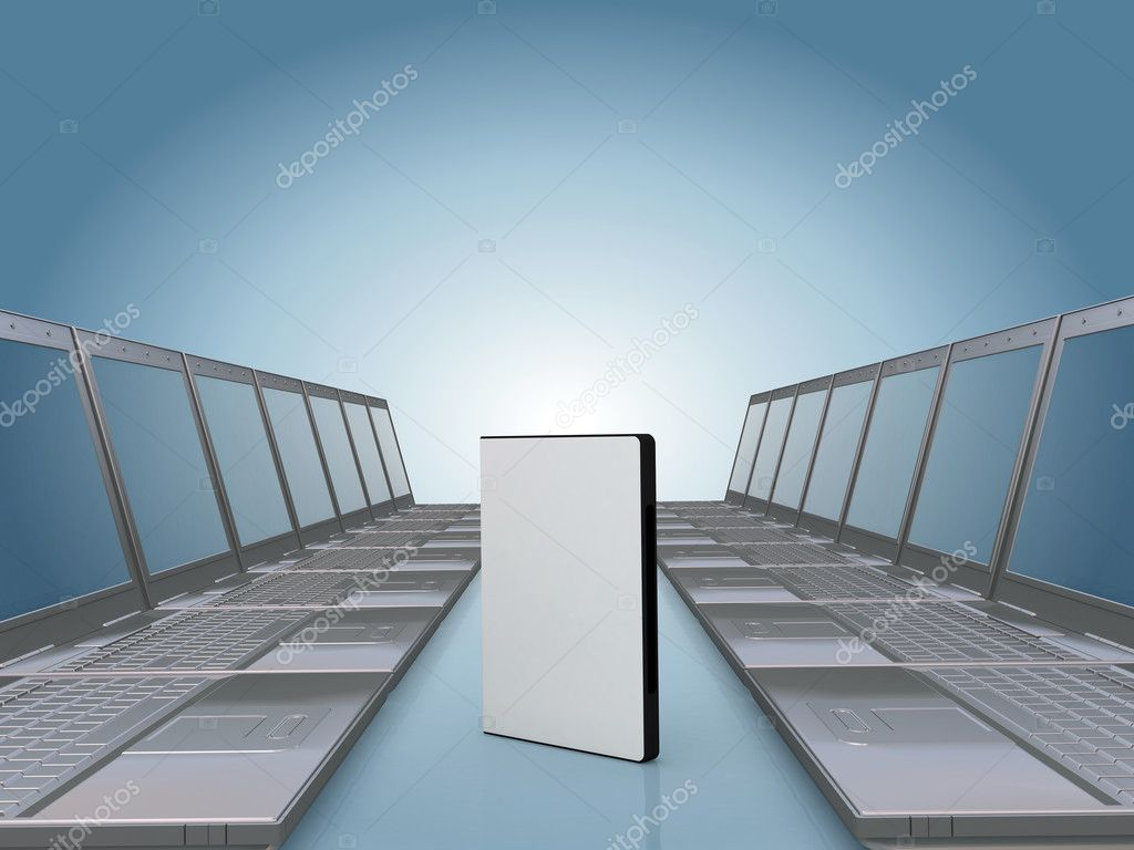 Laptop corridor with DVD software case , space for you text or photo on the cover — Stock Photo #5477450