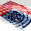 American Flag ripple with water drop — Stock Photo