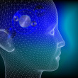 Wired human head with wheels inside to illustrate the thinking process — Stock Photo
