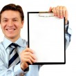 Businessman holding a blank clipboard,clipping path included — Stock Photo