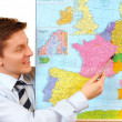 Businessman pointing on the map,clipping path included — Stock Photo