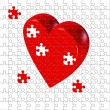 Puzzle heart unfinished — Stock Photo