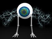 Eye robot with electric wires with clipping path — Stockfoto
