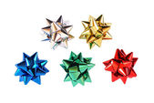 Colorful gift ribbon ornaments isolated on white with clipping path — Stock Photo