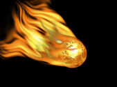 Golden earth with bump map and scratches on fire — Foto Stock