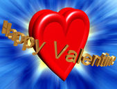 Happy valentine sign with red heart and abstract background — Stock Photo