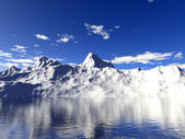 Snow mountain with water reflection — Stock Photo