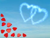 Heart shaped clouds,happy valentine cloud sign,hearts on blue sky — Stock Photo