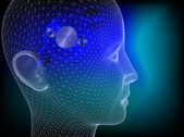 Menselijk hoofd met wielen in wired om te illustreren het denkproces — Stockfoto
