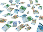 Money flying on white background,real photo of money currencies — Stock Photo