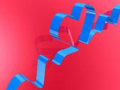 Blue shining ribbon in heart shape — Stock Photo