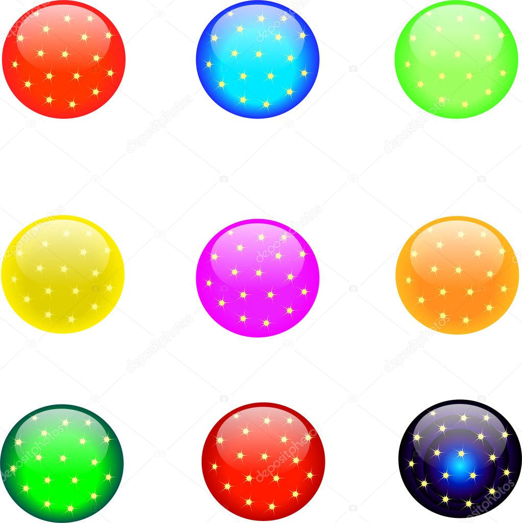 Colored round buttons with stars  Stock Photo #5492541