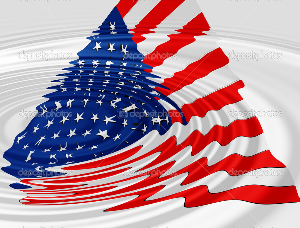 Download - 3d american flag with water ripple — Stock Image #5492689