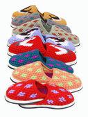 Eight pairs of slippers. — Stock Photo
