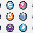 Stock Vector: 3d vector social icons