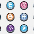 3d vector social icons - Stockvectorbeeld