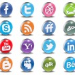 Glossy Vector Social 3d Icons — Stock Vector