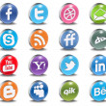 Glossy Vector Social 3d Icons — Stock Vector